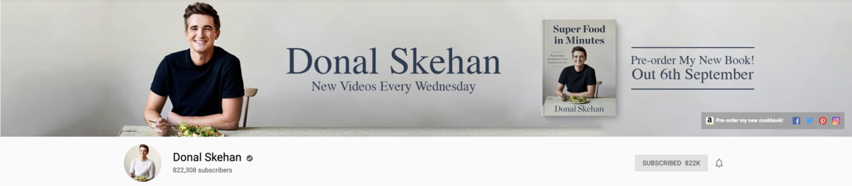 YouTube Channel Art Donal Skehan Example